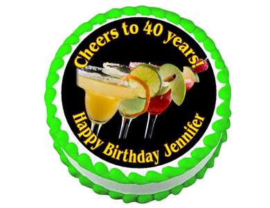 Margarita Party Round Edible Cake Image Cake Topper - Cakes For Cures