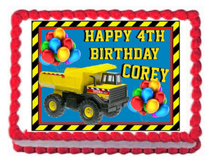 CONSTRUCTION TRUCK TONKA edible party cake topper cake image sheet decoration - Cakes For Cures