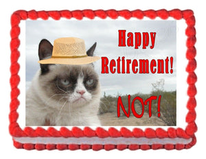Grumpy Cat Retirement Edible Cake Image Cake Topper - Cakes For Cures
