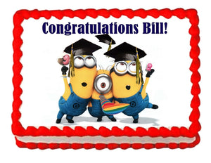 Despicable Me Minions Graduation Edible Cake Image Cake Topper - Cakes For Cures