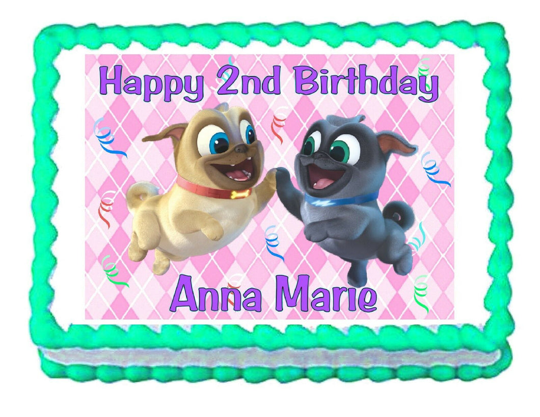 Puppy Dog Pals Pink Edible Cake Image Cake Topper - Cakes For Cures