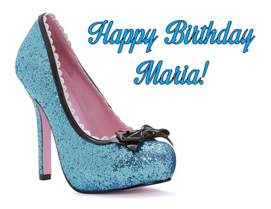 Blue High Heel Shoe Edible Cake Image Cake Topper - Cakes For Cures