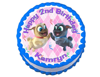 Puppy Dog Pals Pink Round Edible Cake Image Cake Topper - Cakes For Cures