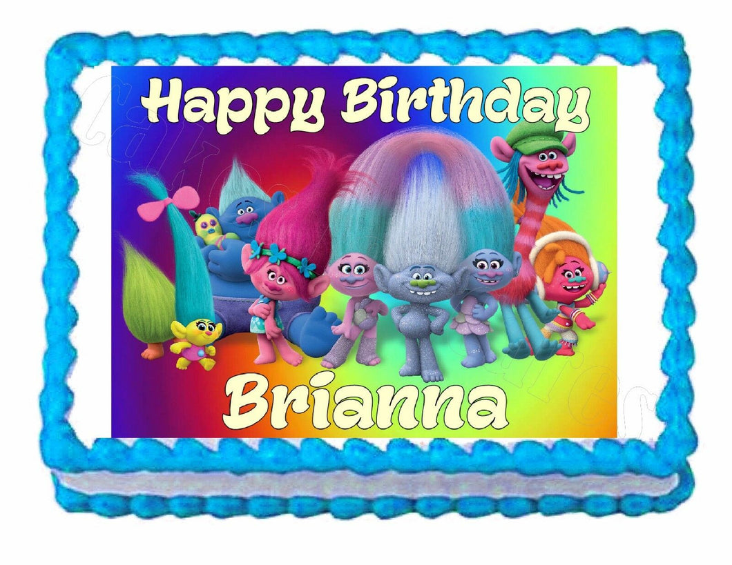 Trolls Party Edible Cake image cake topper decoration - personalized free! - Cakes For Cures