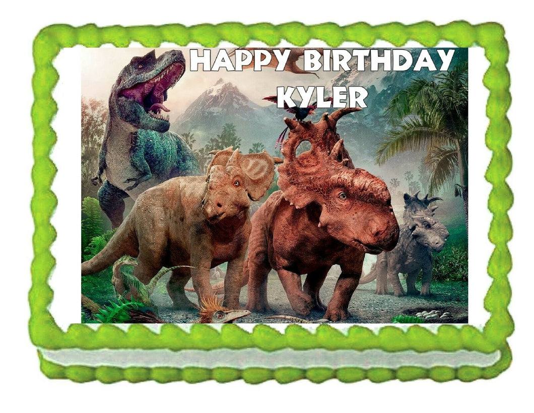Walking with Dinosaurs edible cake topper decoration image frosting sheet - Cakes For Cures