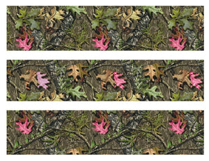 Mossy Oak with Pink Leaves Camo Edible Cake Strips - Cake Wraps - Cakes For Cures
