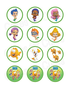 Bubble Guppies edible party cupcake toppers decoration 12/sheet - Cakes For Cures