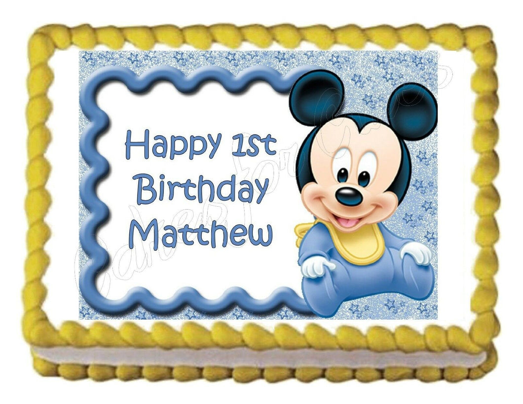 Baby Mickey Mouse Baby Shower or Birthday Edible Cake Image Cake Topper - Cakes For Cures
