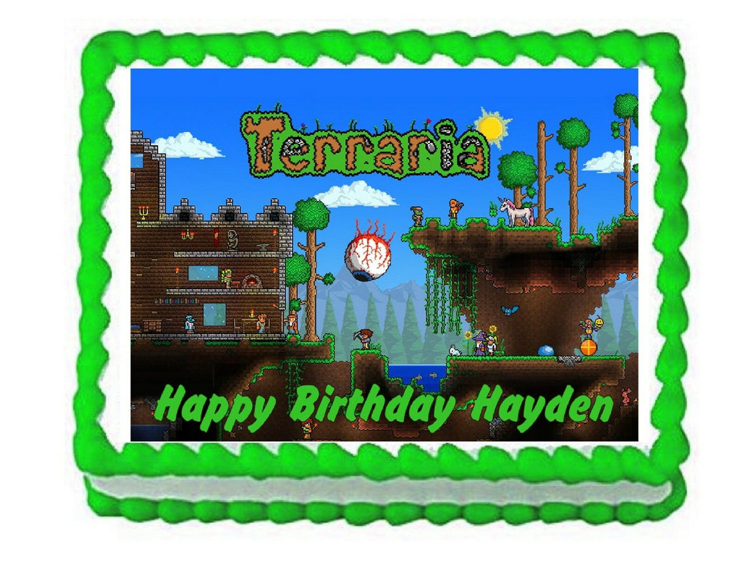 Terraria Gaming Edible Cake Image Cake Topper - Cakes For Cures