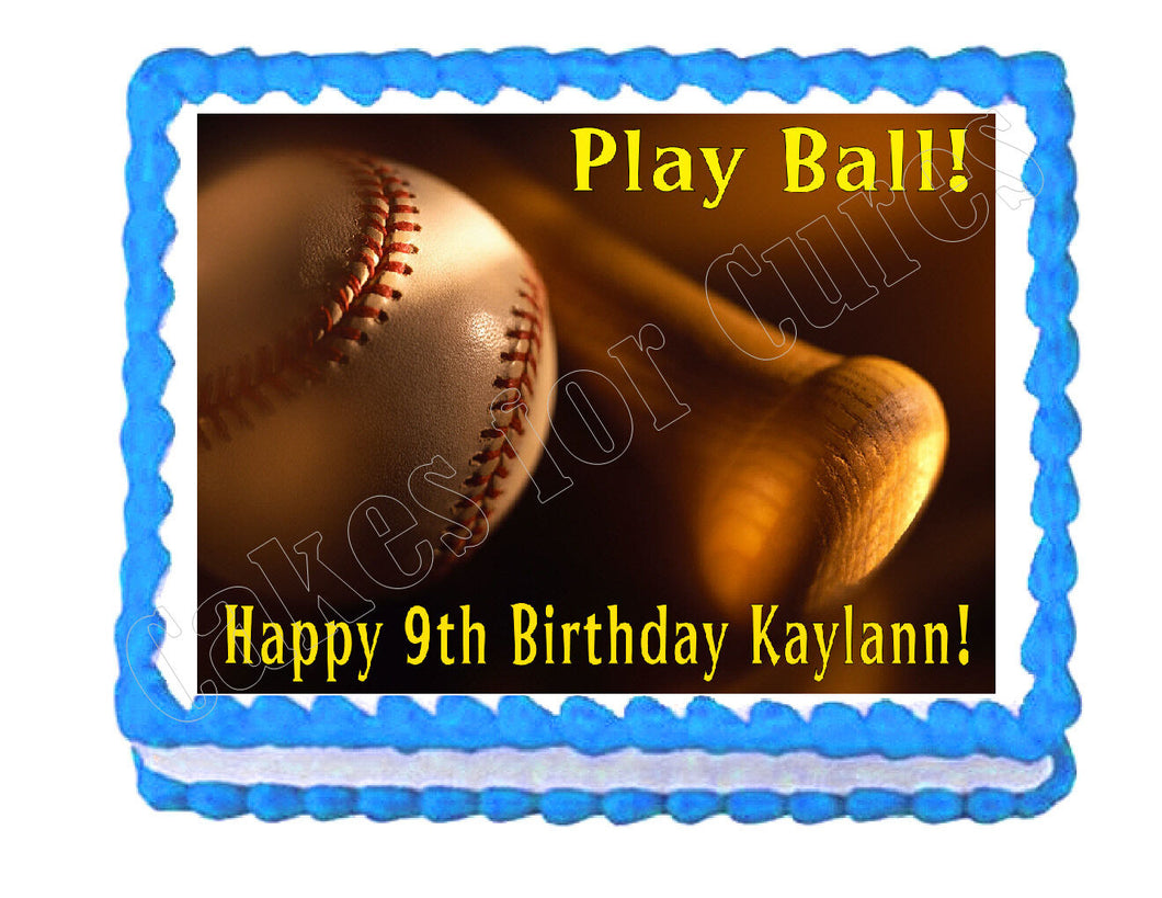 Baseball Edible Cake Image Cake Topper - Cakes For Cures