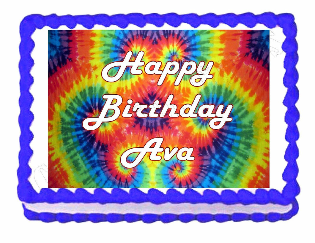 Tie Dye Hippie Party Edible Cake Image Cake Topper - Cakes For Cures