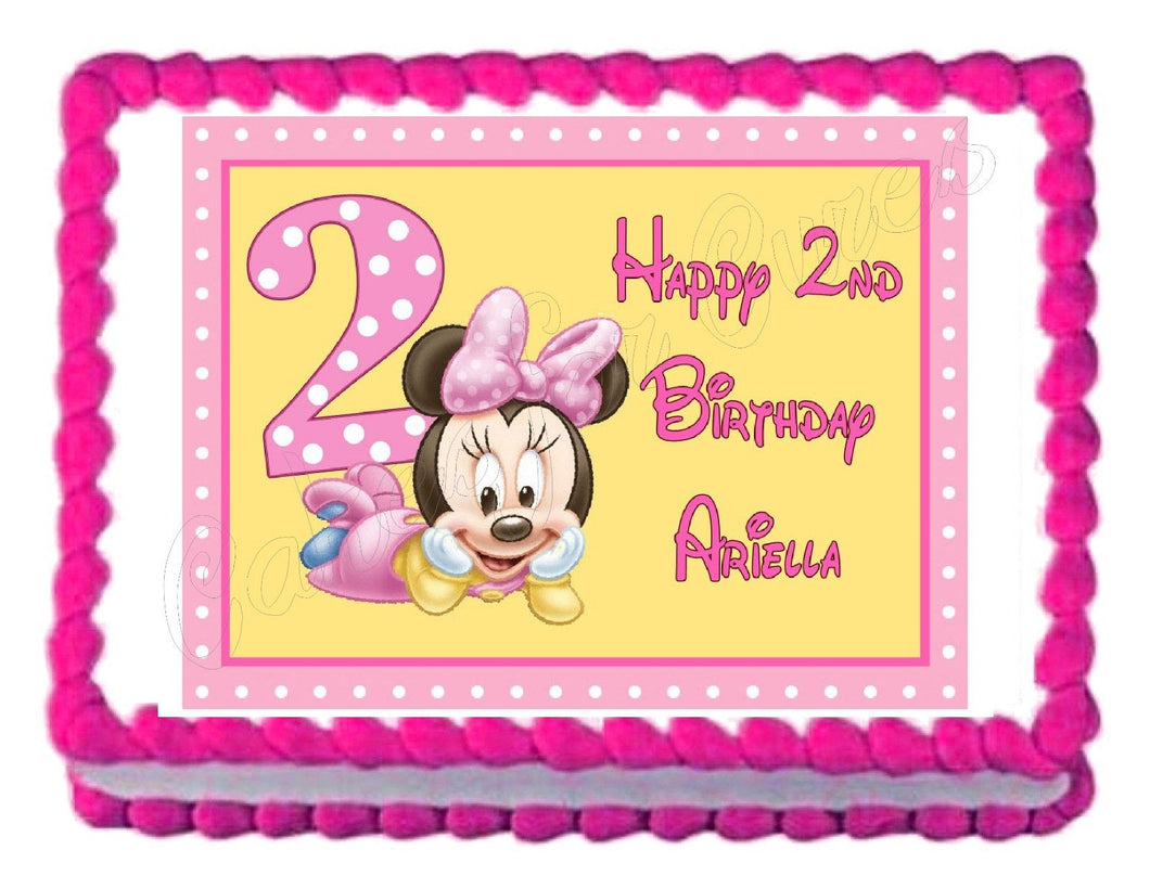 Minnie Mouse 2nd Birthday Edible Cake Image Cake Topper - Cakes For Cures