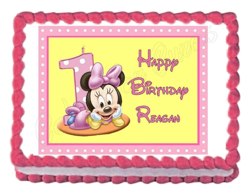 Minnie Mouse 1st Birthday Edible Cake Image Cake Topper - Cakes For Cures
