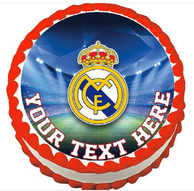 Real Madrid Soccer Round Edible Cake Image Cake Topper - Cakes For Cures