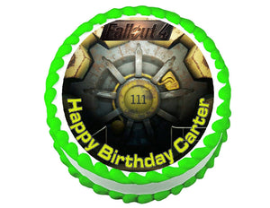 Fallout 4 Vault Door Gaming Round Edible Cake Image Cake Topper - Cakes For Cures