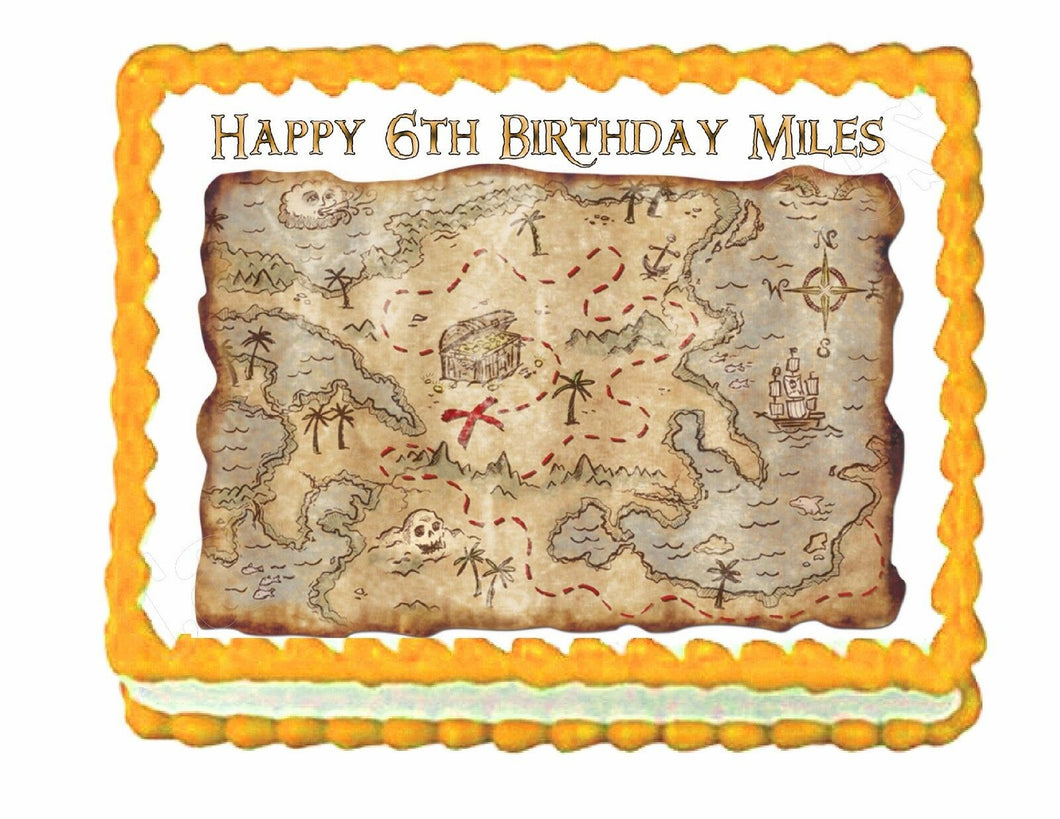 Treasure Map Pirate edible party cake topper cake decoration image frosting sheet - Cakes For Cures