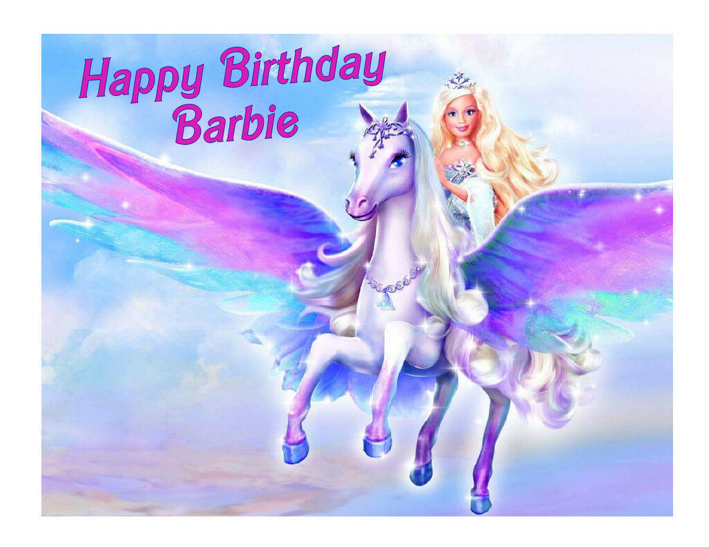 Barbie and Pegasus Edible Cake Image Cake Topper - Cakes For Cures