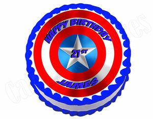 Captain America Shield Avengers edible party cake topper decoration image frosting sheet - Cakes For Cures