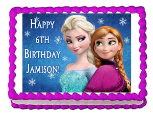 Frozen Anna and Elsa Edible Cake Image Cake Topper - Cakes For Cures
