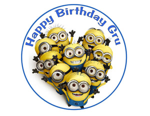 Despicable Me Minions Round Edible Cake Image Cake Topper - Cakes For Cures