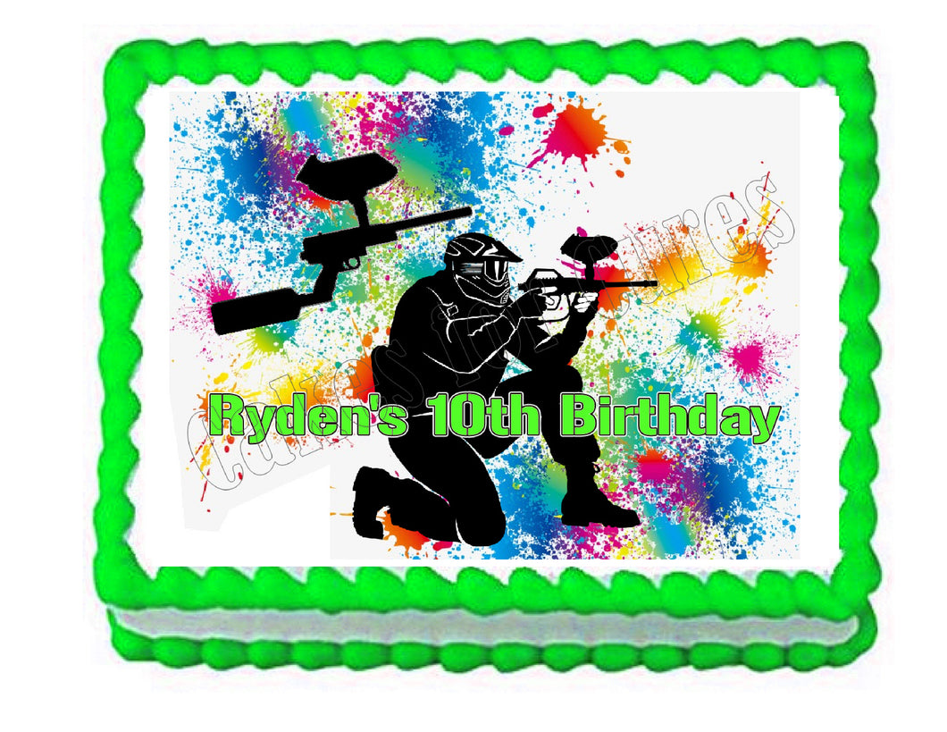 Paintball Party Edible Cake Image Cake Topper - Cakes For Cures