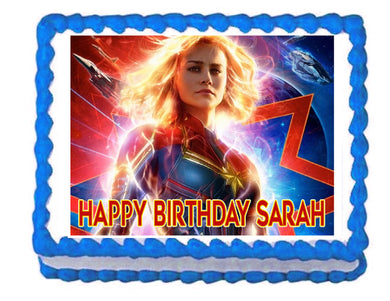 Captain Marvel Avengers Edible Cake Image Cake Topper - Cakes For Cures