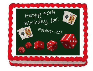 Poker Casino Edible Cake Image Cake Topper - Cakes For Cures