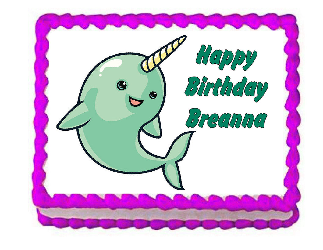 Narwhal Edible Cake Image Cake Topper - Cakes For Cures