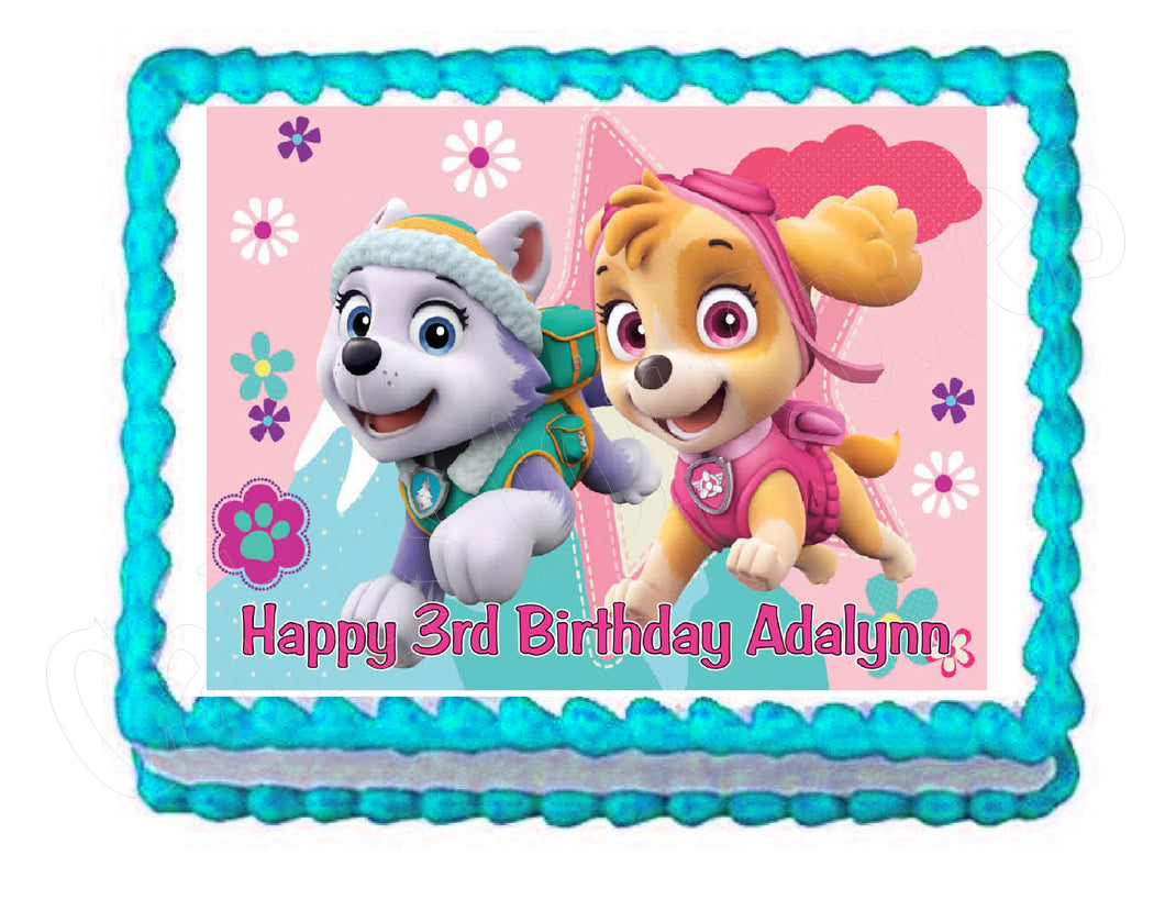 Paw Patrol Skye and Everest Edible Cake Image Cake Topper - Cakes For Cures