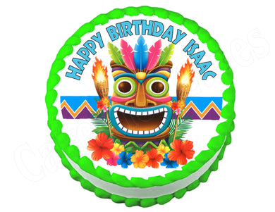 Hula Hawaiian Luau Tiki party round edible cake image cake topper decoration - Cakes For Cures