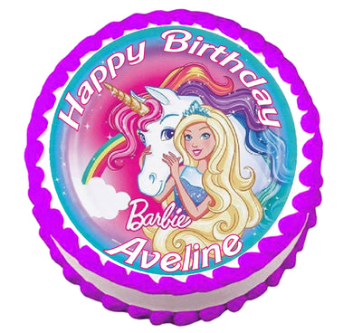 Barbie Unicorn Round Edible Cake Image Topper - Cakes For Cures