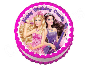 Barbie Princess and the Popstar Round Edible Cake Image Cake Topper - Cakes For Cures