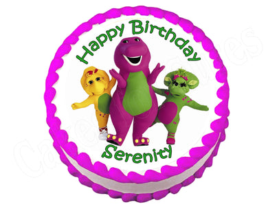 Barney Round Edible Cake Image Cake Topper - Cakes For Cures