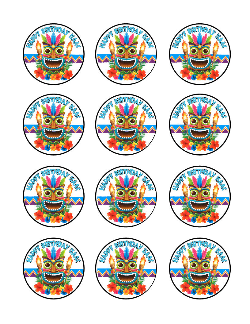 Hula Hawaiian Luau Tiki cupcake images 12 per sheet topper decoration - Cakes For Cures