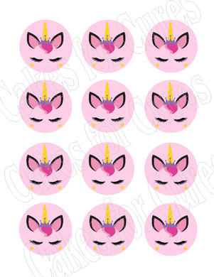 Unicorn face edible party cupcake toppers decoration frosting toppers 12/sheet* - Cakes For Cures