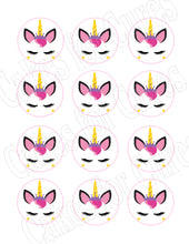 Load image into Gallery viewer, Unicorn face edible party cupcake toppers decoration frosting toppers 12/sheet* - Cakes For Cures