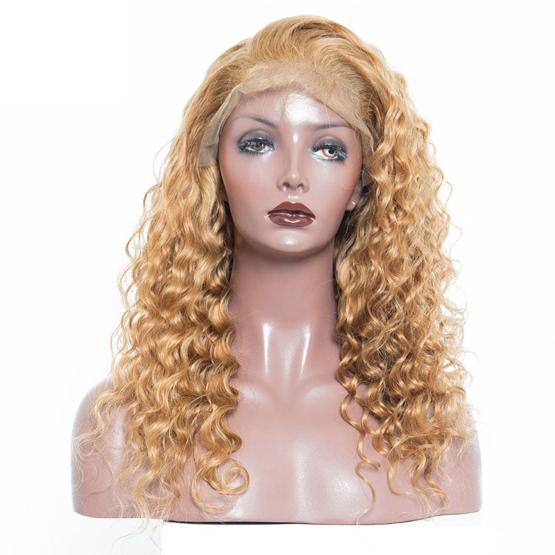 Blonde Lace Front Human Hair Wigs For Women Colorful 250 Density