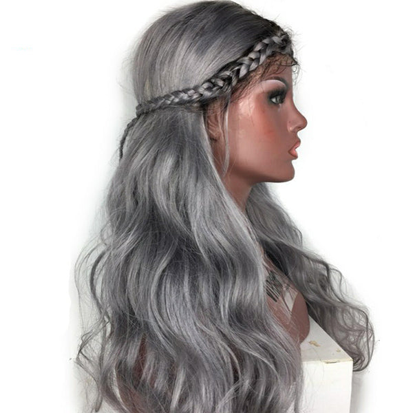 71fe2741a Ombre Grey Color Lace Front Human Hair Wig with Baby Hair Pre-Plucked  Hairline Remy Hair Brazilian Body Wave Glueless Wig