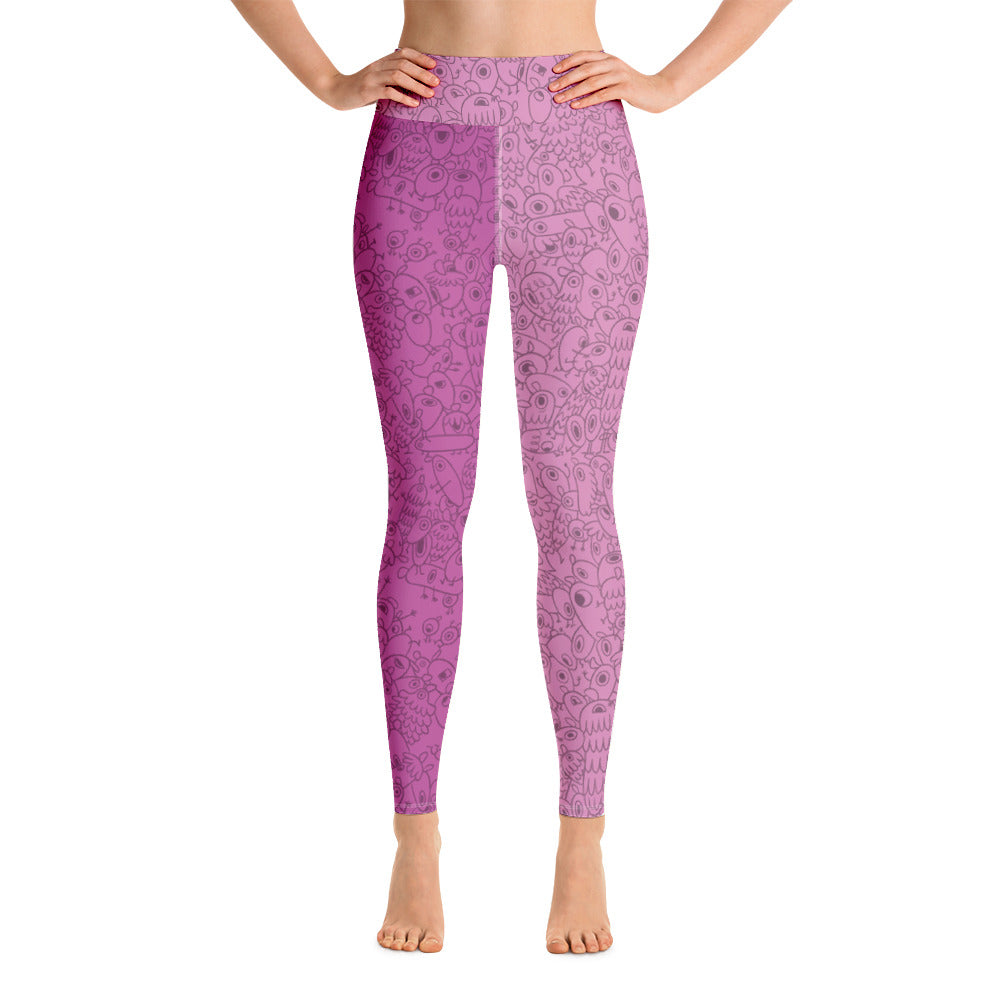 Pink One-eyed Pinecones - Yoga Design Leggings