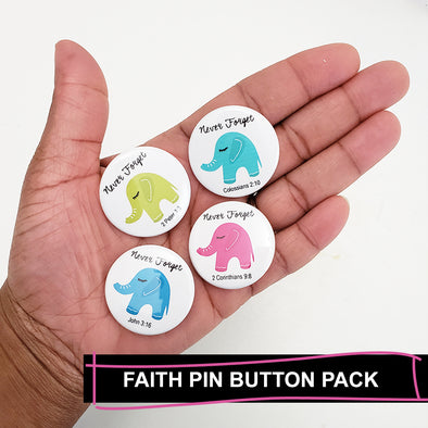 Never Forget Pin Back Button Pack