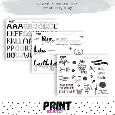 Alphas & Word Art - Black & White Kit