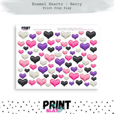 Enamel Hearts - Berry