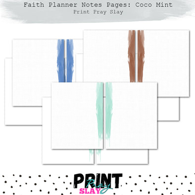 Faith Planner Notes - Cool Mint (12 pgs)