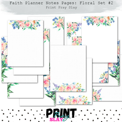 Faith Planner Notes - Floral Set #2 (14 pgs)