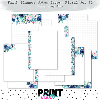 Faith Planner Notes - Floral Set #1 (12 pgs)