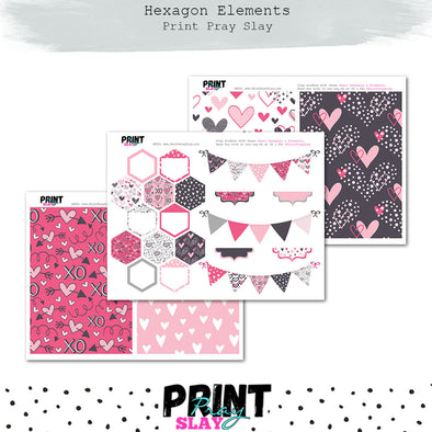 Heart Hexagon & Elements