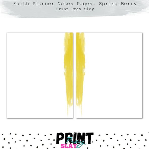 Faith Planner Notes - Spring Berry (12 pgs)
