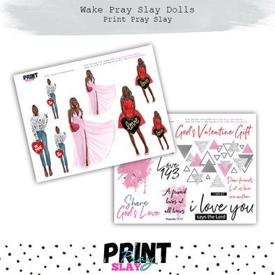 Valentines Day Wake Pray Slay Dolls DP