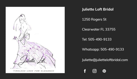 Contact us juliette loft bridal coming soon our new location location 1250 rogers st clearwater fl 33756 reheart Choice Image