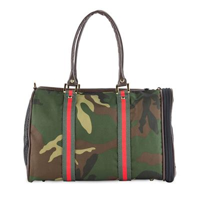 JL Duffel - Camouflage w/Red Stripe Dog Carrier